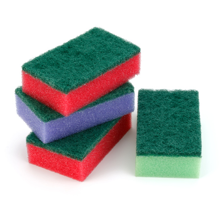 homemaker: Stacked sponges isolated on white background cutout