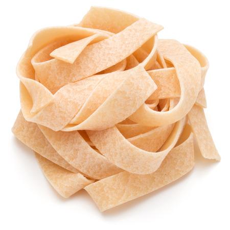 maccheroni: Italian pasta fettuccine nest isolated on white background cutout Stock Photo