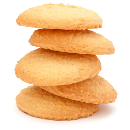 shortbread: stacked short pastry cookies isolated on white background