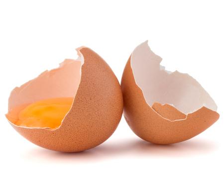 eggshell: Broken egg  in eggshell half isolated on white background cutout