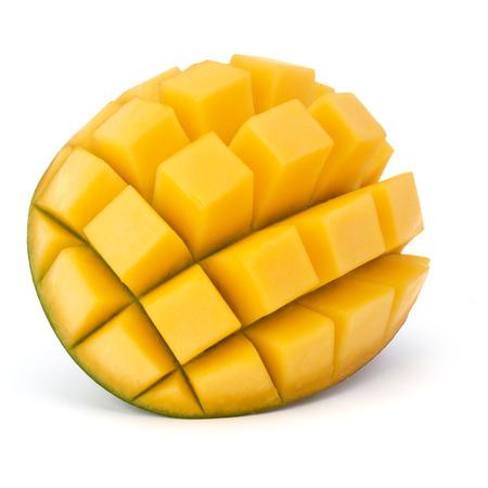Sliced mango cubes isolated on white background