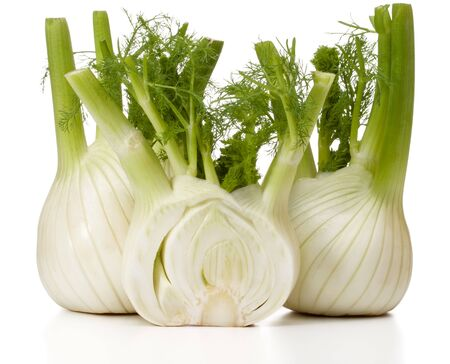 Fresh fennel bulb isolated on white background close up Stock Photo