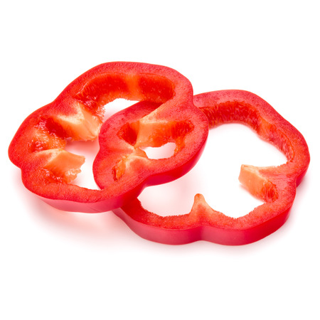 Red sweet bell pepper slices isolated on white background cutout