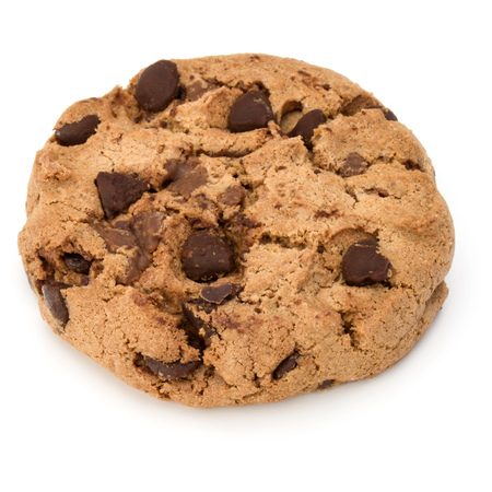 cooky: One Chocolate chip cookie isolated on white background. Sweet biscuit. Homemade pastry. Stock Photo