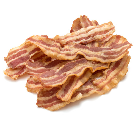 meaty: cooked crispy slices of bacon isolated on white background Stock Photo