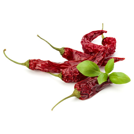 relish: Dried red chili or chilli cayenne pepper isolated on white  background cutout