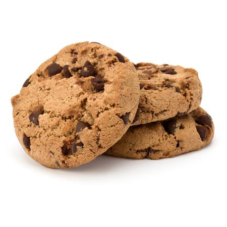 Drie Chocolade chip cookies geïsoleerd op een witte achtergrond. Zoete koekjes. Zelfgemaakte gebak. Stockfoto