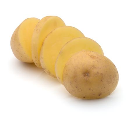 potato tuber slices  isolated on white background cutout Stock Photo