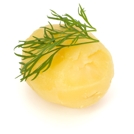 one boiled peeled potato with dill  isolated on white background cutout Banco de Imagens