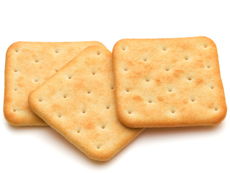 Dry cracker cookies isolated on white background cutout Stock Photo