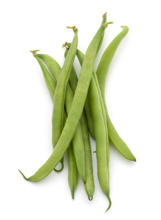 haricot: Green beans handful isolated on white background cutout Stock Photo