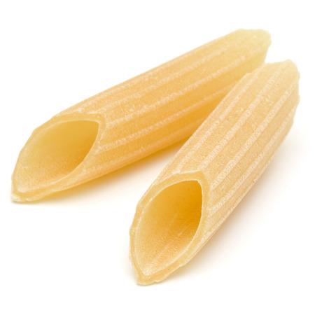Italian pasta isolated on white background. Pennoni. Penne rigate. Stock Photo