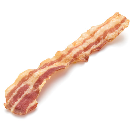 meaty: cooked crispy slice of bacon isolated on white background