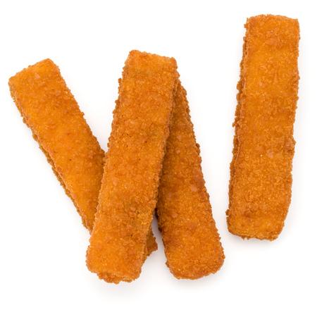 Crispy Fish fingers isolated on white background Stock Photo