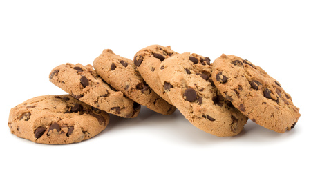 Chocolate chip cookies isolated on white background. Sweet biscuits. Homemade pastry. Stock Photo