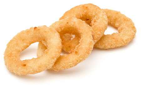 Crispy deep fried onion or Calamari ring isolated on white background Фото со стока