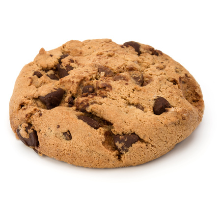 One Chocolate chip cookie isolated on white background. Sweet biscuit. Homemade pastry. Stock Photo
