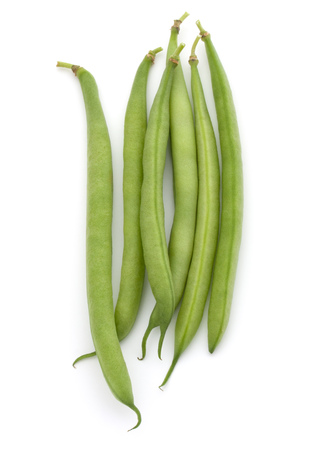 Green beans handful isolated on white background cutout Stok Fotoğraf