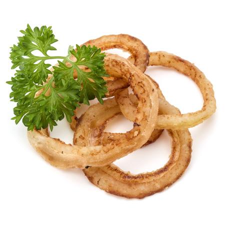 Deliciosos anillos de cebolla fritos crujientes aislados en blanco Foto de archivo - 87608956