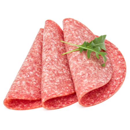 Salami smoked sausage slices isolated on white background Stock Photo
