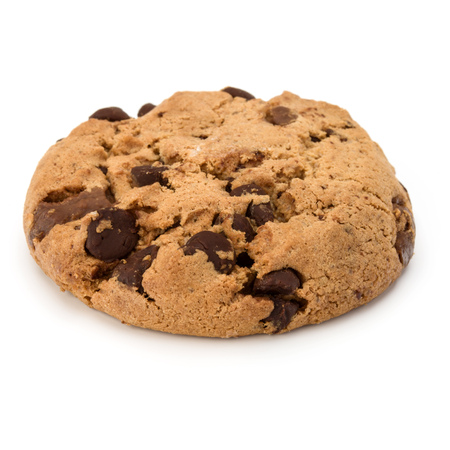 One Chocolate chip cookie isolated on white background.