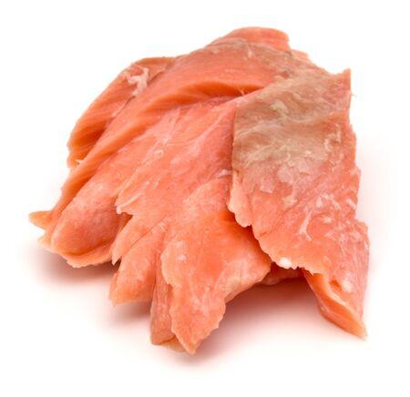 smoked salmon segments isolated on white background Stock Photo
