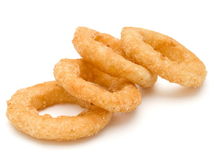 Crispy deep fried onion or Calamari ring isolated on white background Stockfoto