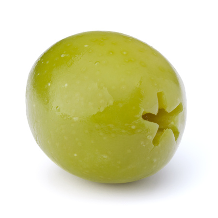 Green olive fruit isolated on white background cutout Stock Photo