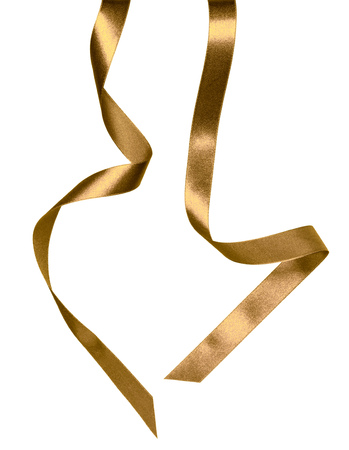 Shiny satin ribbon in brown color isolated on white background close up
