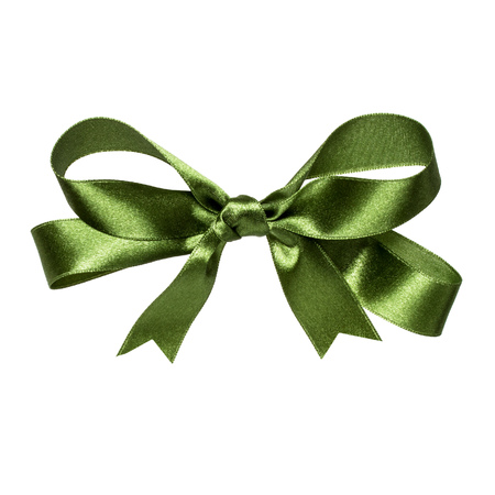 Shiny satin ribbon bow in dark green color isolated on white background close up