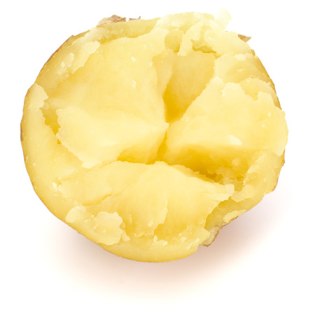 one boiled peeled potato half isolated on white background cutout