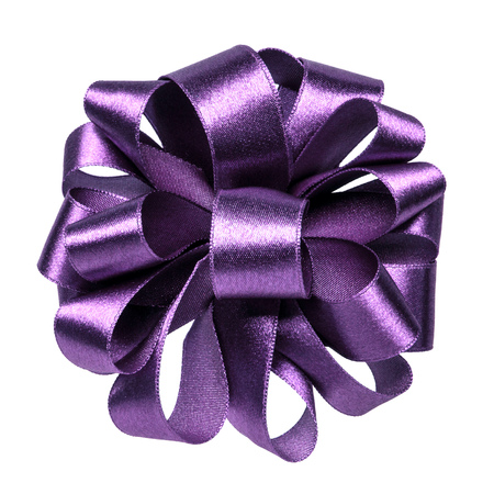 Shiny satin ribbon bow in lavender color isolated on white background close up Stock Photo
