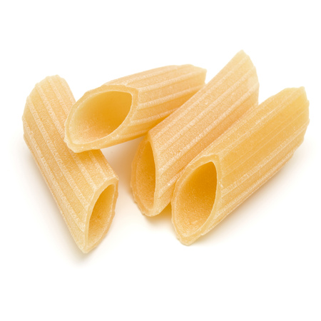 Italian pasta isolated on white background. Pennoni. Penne rigate. 版權商用圖片