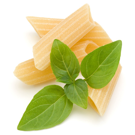 Italian pasta isolated on white background. Pennoni. Penne rigate. 版權商用圖片