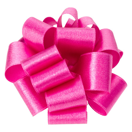 big round ribbon bow in pink color isolated on white background close up. Bow image for decoration design.
