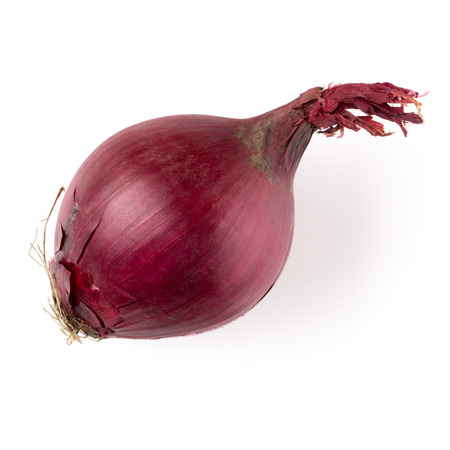 red onion isolated on white background cutout, top view 免版税图像