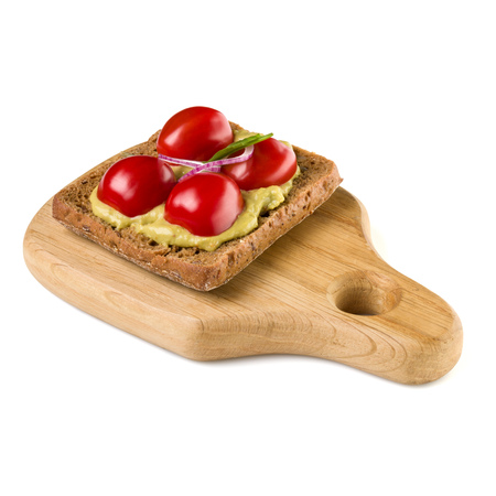 Open  faced vegetable sandwich canape or crostini on a wooden serving board  isolated on white background closeup.  Vegetarian tartarine.