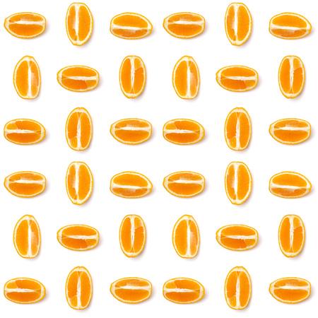 Seamless pattern of orange fruit. Orange fruit isolated on white background. Food background. Flat lay, top view.
