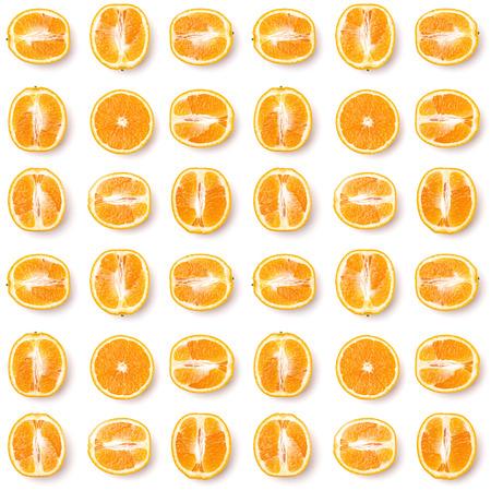 Seamless pattern of orange fruit halves. Orange fruit isolated on white background. Food background. Flat lay, top view. Stock Photo