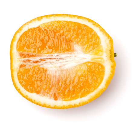 half of Orange fruit  isolated on white background closeup. Food background. Flat lay, top view. 写真素材