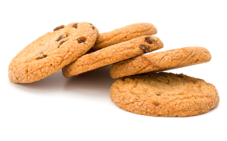 Chocolate chip cookies isolated on white background. Sweet biscuits. Homemade pastry. 写真素材
