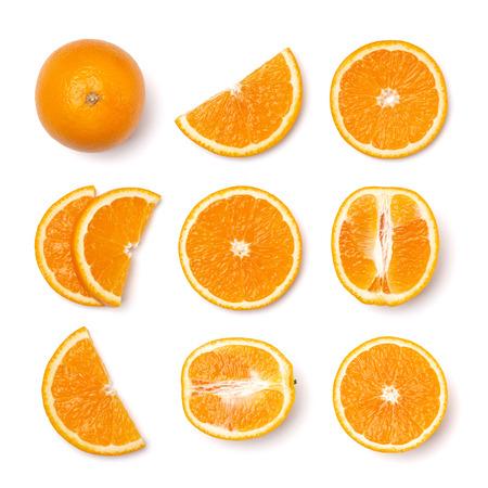 Set of orange fruit slices . Orange fruit isolated on white background. Food background. Flat lay, top view.