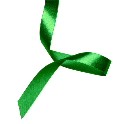 Shiny satin ribbon in green color isolated on white background. Ribbon image for decoration design. 写真素材