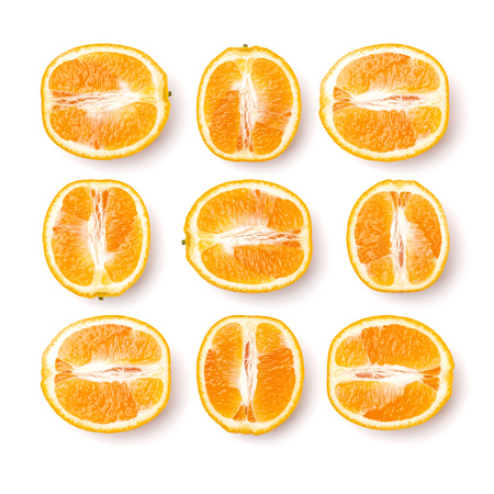 pattern of orange fruit. Orange fruit isolated on white background. Food background. Flat lay, top view.