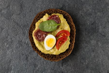 open Sandwich with sausage. Top view, flat lay.