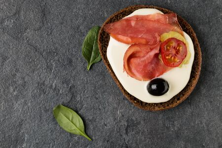 open Sandwich with ham. Top view, flat lay.