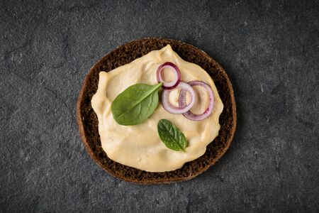 open Sandwich with hummus. Top view, flat lay.
