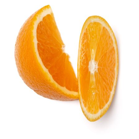 Orange fruit slice  isolated on white background closeup. Food background. Flat lay, top view.