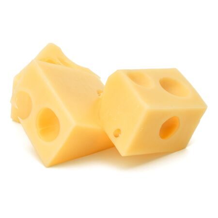 Cubes of cheese. Cheese block isolated on white background cutout