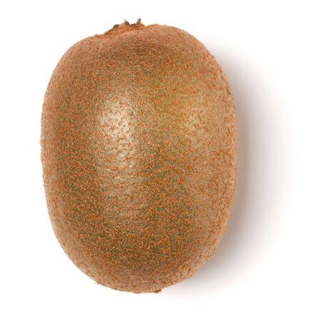 Whole kiwi fruit isolated on white background closeup. Kiwifruit flatlay. Flat lay, top view. Archivio Fotografico